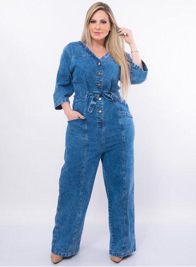 Macacão Jeans Plus Size Pantalona Phelps