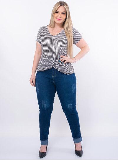 Blusa Plus Size Barra Transpassada