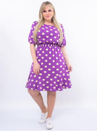 Vestido Plus Size Poá Manga Bufante