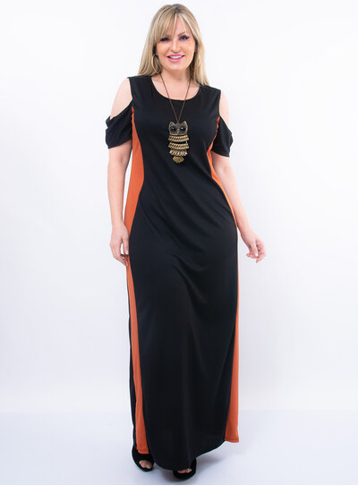 Vestido Plus Size Longo com Faixa Lateral