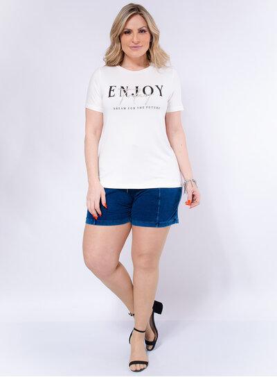 T-Shirt Plus Size Bordada Enjoy