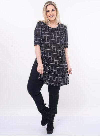 Blusa Plus Size Preta Xadrez