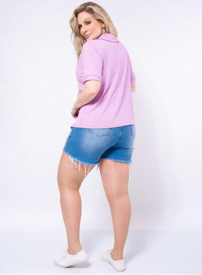 Blusa Plus Size Canelada Gola Polo