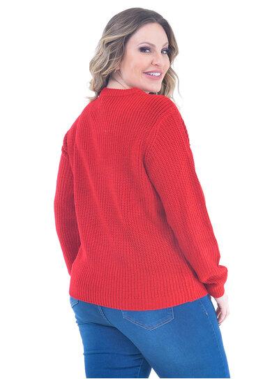 Suéter Plus Size Tricot com Botões