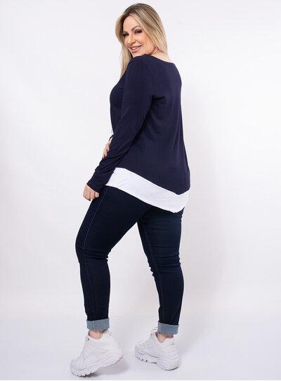 Blusa Plus Size Barra Assimétrica