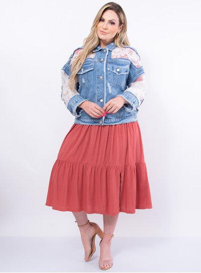 Jaqueta Jeans Plus Size Renda