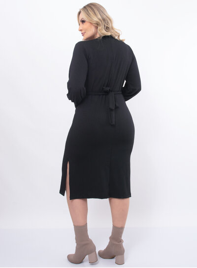 Vestido Plus Size Laço na Cintura