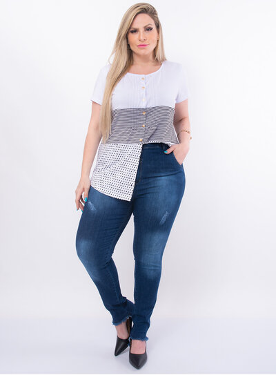 Blusa Plus Size Camadas Poá