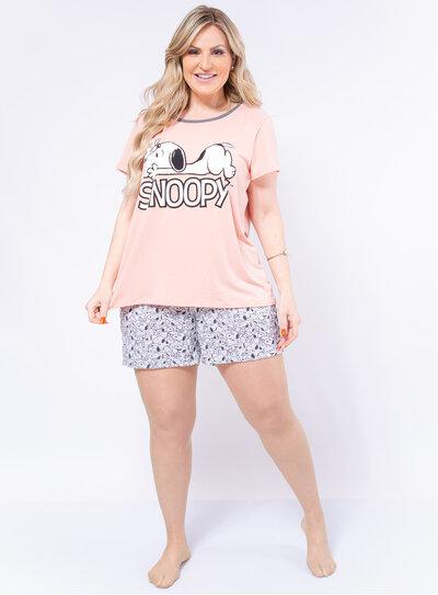 Pijama Plus Size Curto Snoopy
