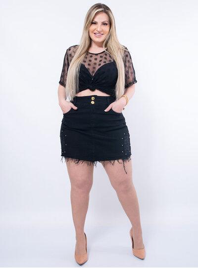 Blusa Plus Size Tule Poá