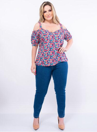 Blusa Ciganinha Plus Size Floral