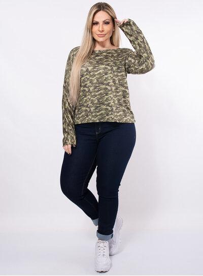 Blusa Plus Size Camuflada