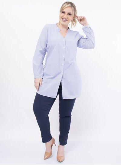 Camisa Plus Size Listrada Longa