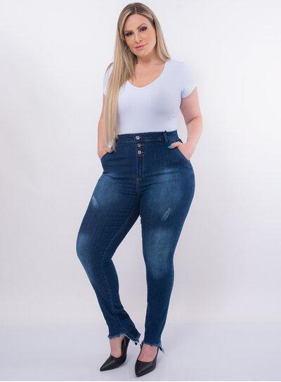 Calça Jeans Plus Size Barra Assimetrica Desfiada