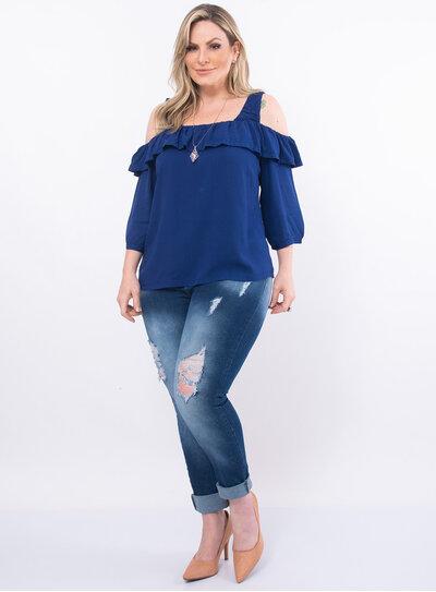 Blusa Plus Size Ciganinha em Viscose