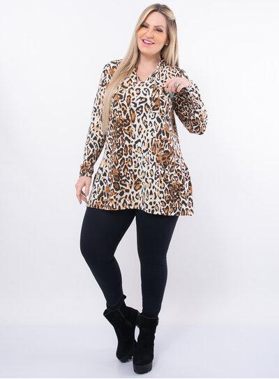 Maxi Blusa Plus Size Animal Print