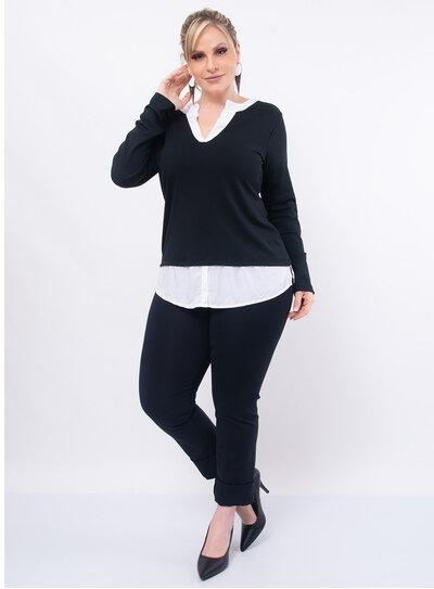 Blusa Plus Size com Sobreposição