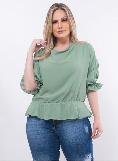 Blusa Plus Size Detalhe em Renda nas Costas