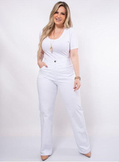 Calça Pantalona Plus Size com Elastano