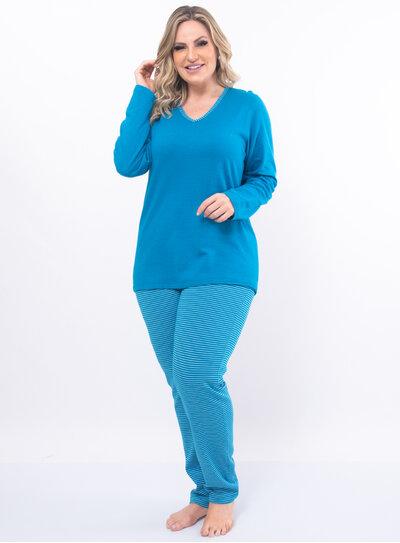 Pijama Plus Size Calça Listrada