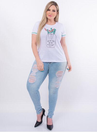 T-Shirt Plus Size Flores