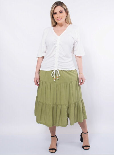 Blusa Plus Size Franzida