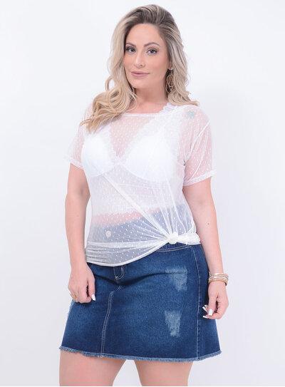 T-shirt Tule Poá Plus Size