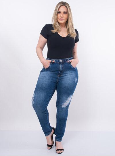 Calça Plus Size Jeans Modelagem Skinny
