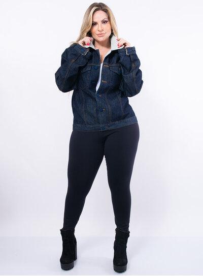 Jaqueta Plus Size Jeans com Pelúcia