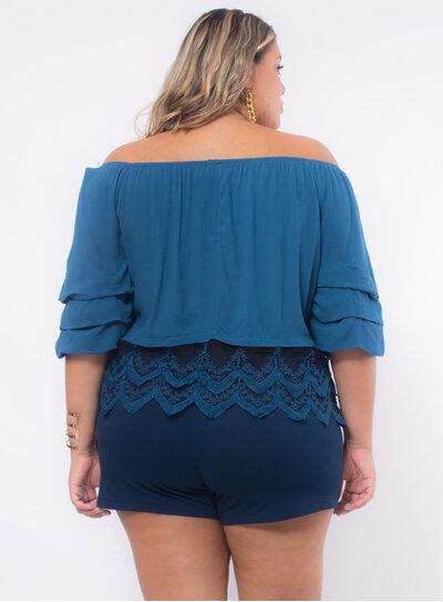Blusa Plus Size Ombro a Ombro com Renda