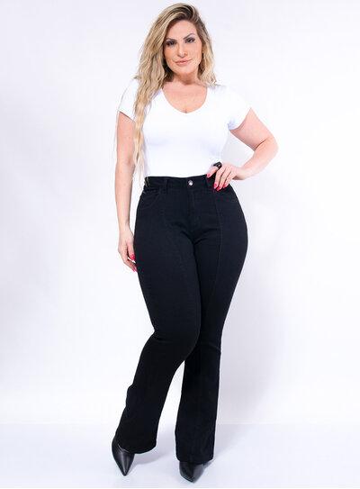 Calça Flare Jeans Plus Size