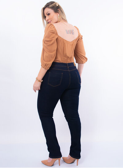 Calça Skinny Plus Size Jeans Escuro