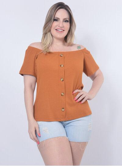 Blusa Plus Size Botões Caramelo