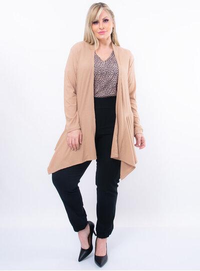 Cardigan Plus Size em Malha Canelada