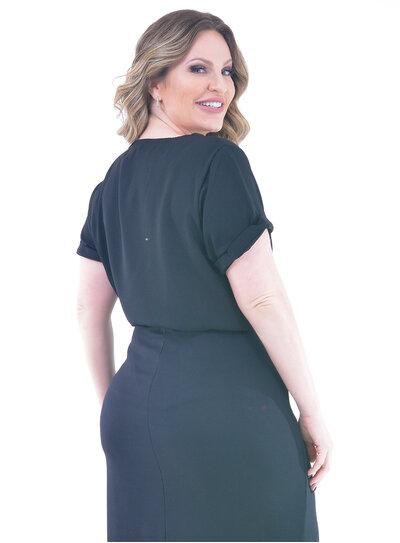 Blusa Plus Size Social Detalhe de Argola