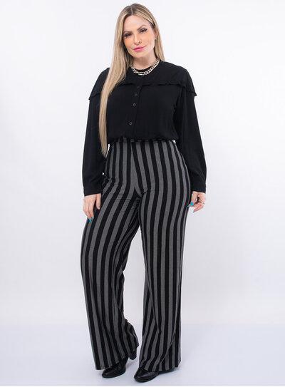 Calça Pantalona Plus Size Listrada