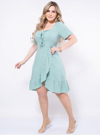 Vestido Plus Size Babado Transversal
