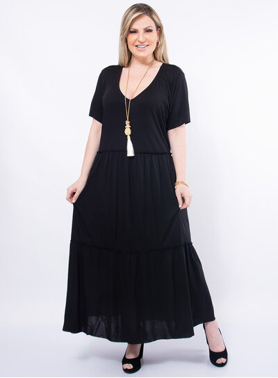 Vestido Plus Size Longo Camadas