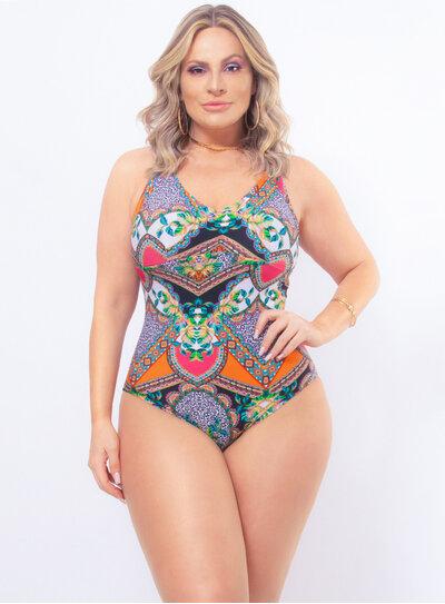 Maiô Plus Size Estampado com Franzido