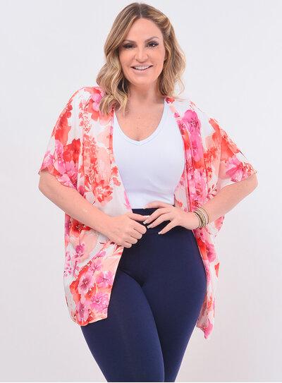 Kimono Plus Size Estampa Floral