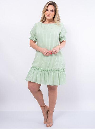 Vestido Plus Size Crepe Xadrez