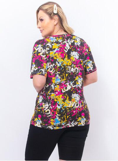 T-Shirt Estampada Plus Size Love
