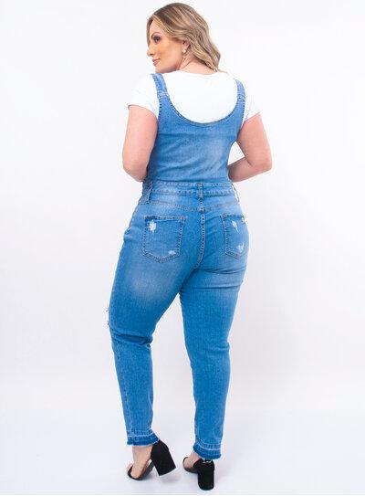 Jardineira Plus Size Jeans Destroyed