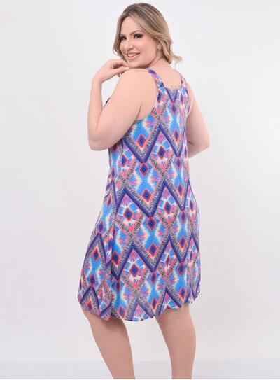 Vestido Plus Size Evasé Estampado