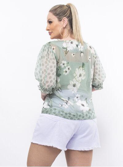 Blusa Plus Size Estampa Floral Verde