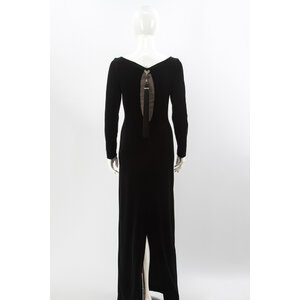 Vestido Longo Jiki em Veludo Preto