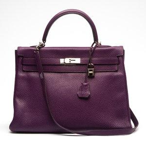 Bolsa Hermès Kelly 35 Clemence Roxa