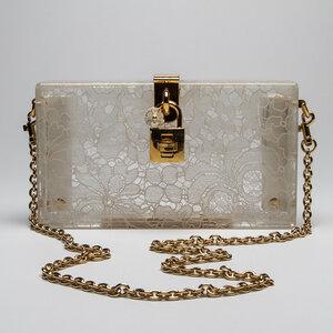 Bolsa Dolce & Gabbana Cristal Box, Renda Branca