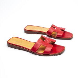Rasteirinha H Hermès em Couro Vermelho