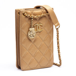Crossbody Chanel Phone Holder Couro Matelassê Dourada